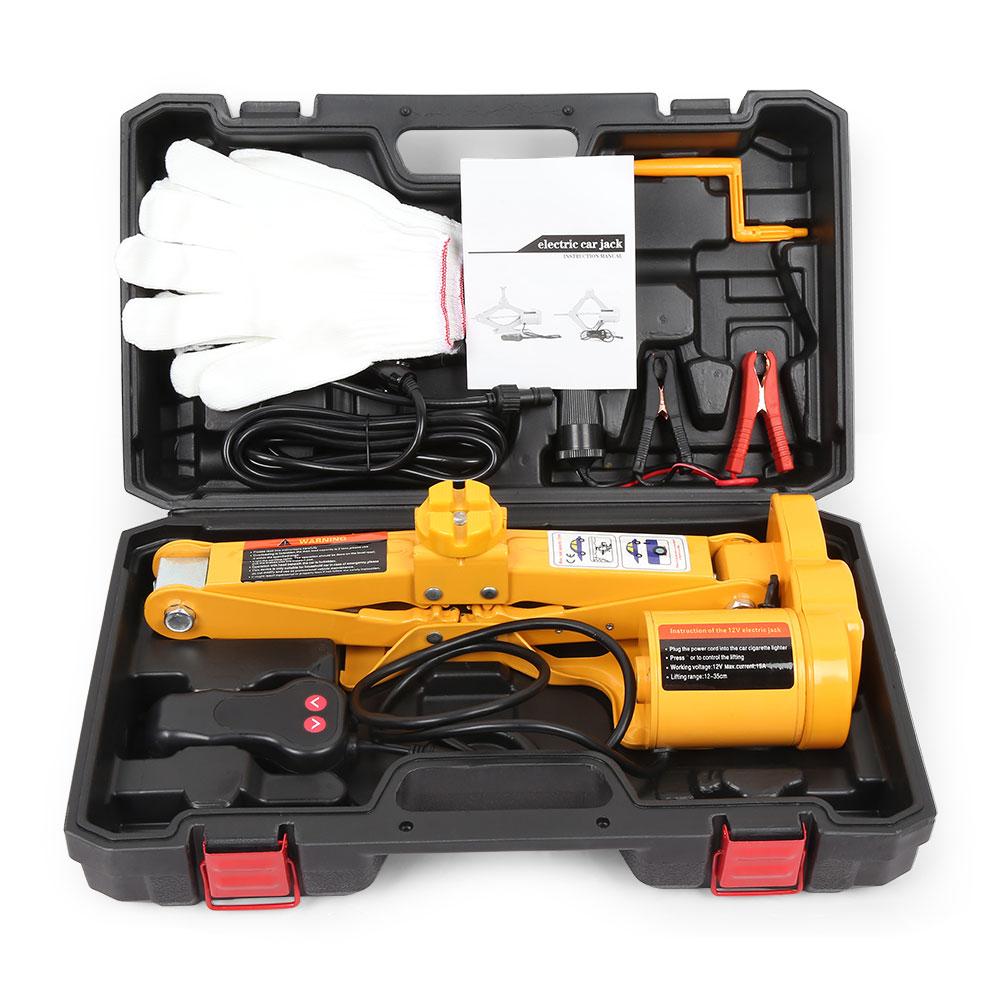 12 V 100 W 2 T voiture vérins Auto électrique hydraulique Jack voiture ascenseur pneu réparation outil avec gants prise adaptateur tournevis Kit