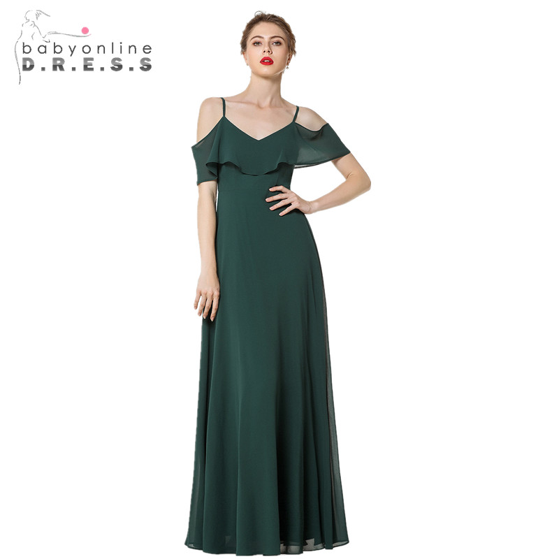 New Arrival Sexy Green V Neck Long   Evening     Dresses   Charming Spaghetti Strap Backless Cap Sleeve   Evening   Gown with Ruffles