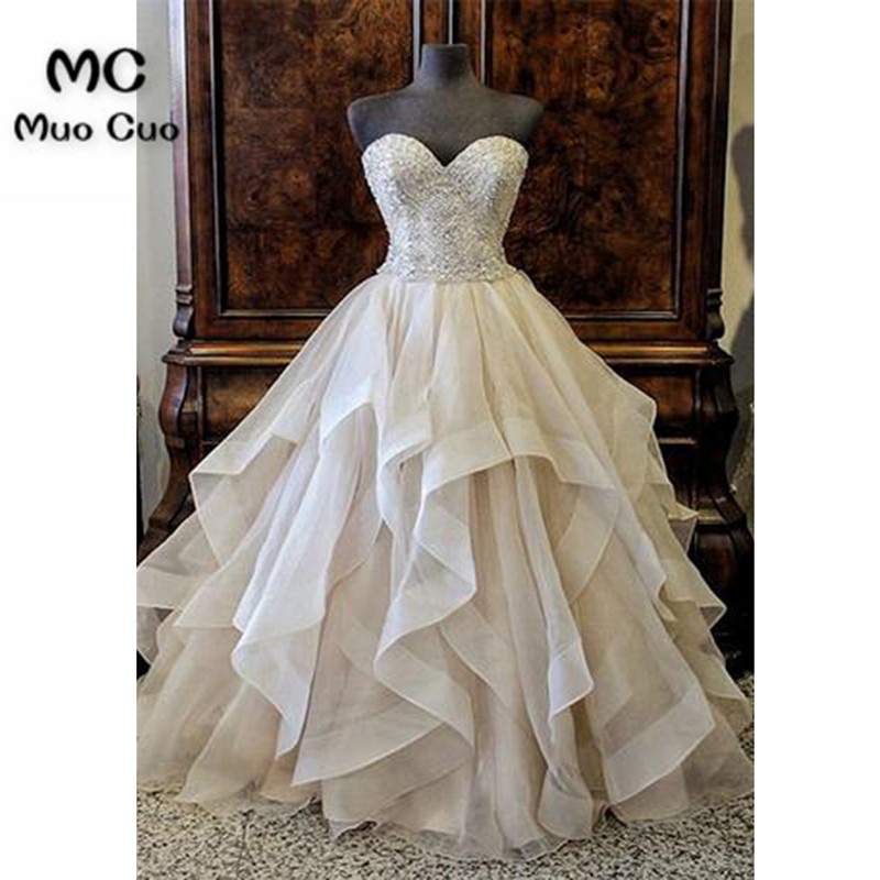 Elegant 2018 Ball Gown   Prom     dresses   Long with Beaded Appliques Organza Ruffles graduation   dresses   Evening   Prom     Dress   for Women