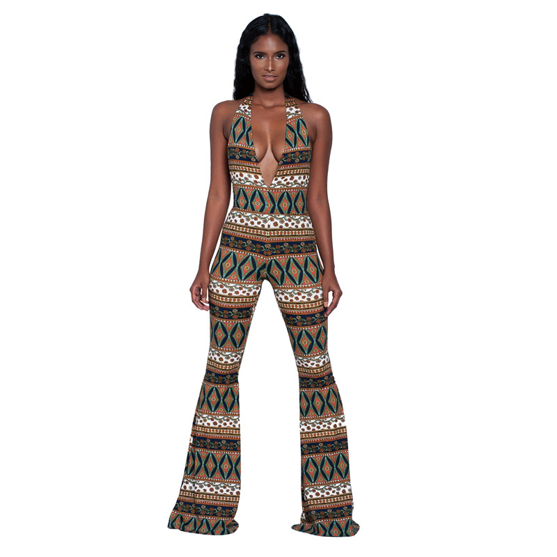 New 2017 Summer Fashion Sexy Rompers Womens   Jumpsuit   Halter Deep V neck Sleeveless Backless   Jumpsuits   Long Flare Pants Overalls