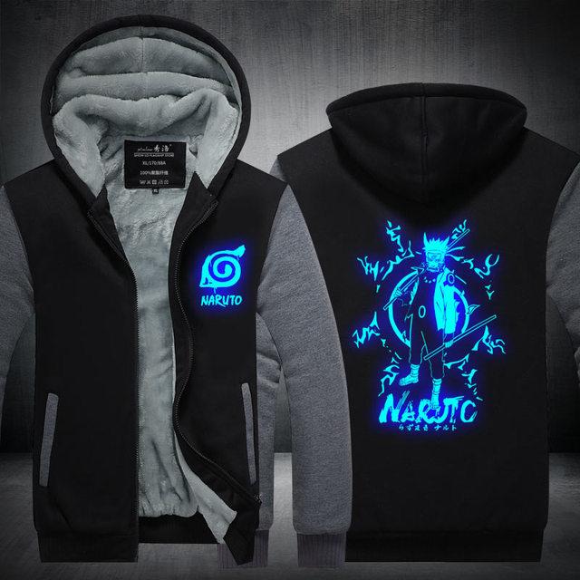 Naruto Uchiha Sasuke Men Thick Zipper Hoodie