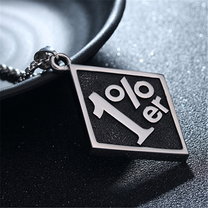 Casting Punk Big Stainless Steel 1%er Pendants Mens Motorcycle Biker Band Party Necklace