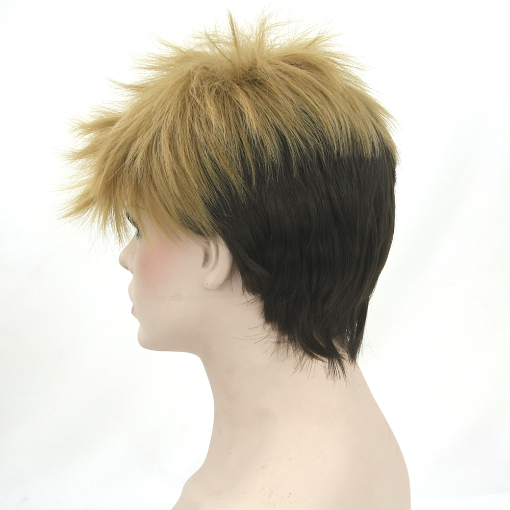 Soowee Short High Temperature Fiber Synthetic Hair Cosplay Wigs Black Mix Brown Wig for Men and Women Peruca