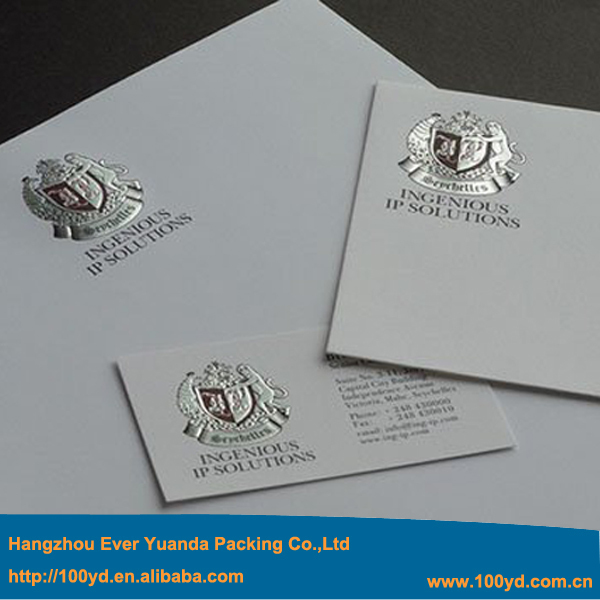 High Quality Custom Embossed Business Card Printing Logo Hot Foil Silver Red Stamping 350gsm