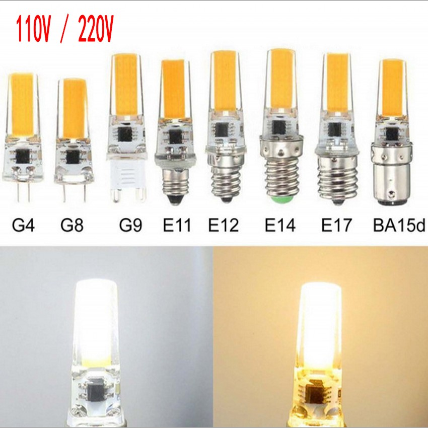 Mini G9 G4 E12 E14  BA15 LED Lamp 3W 6W 12V 220V 110V COB  led  Dimmable for chandelier lighting replace Halogen bulb shipping