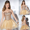 2014 Vestido De fiesta Corto con cuentas blusa cariño Mini oro Cocktail vestidos