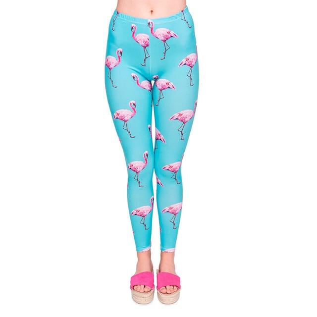 Fashion Women Stretchy Legging Cyan Flamingo Printing Leggings High Quality Leggins High Waist Woman Pants Colorful  Jeggings