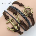 LYIYUNQ Leather Bracelet Vintage Bohemia Unisex Men Jewelry Classic Anchor Bracelets For Women