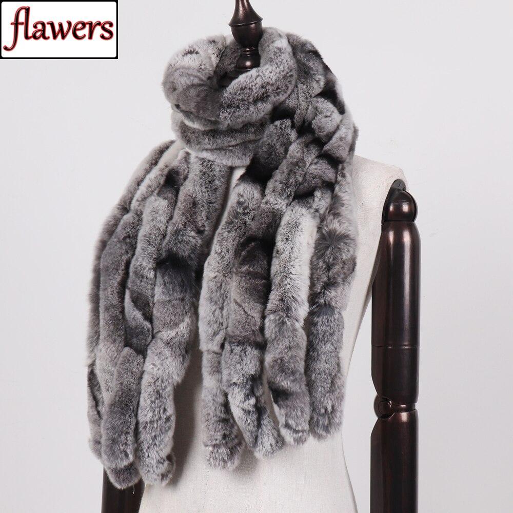 2019 Women Winter 100% Genuine Real Rex Rabbit Fur Scarf Natural Soft Rex Rabbit Scarves Lady Warm Real Rex Rabbit Fur Muffler-in Women's Scarves from Apparel Accessories