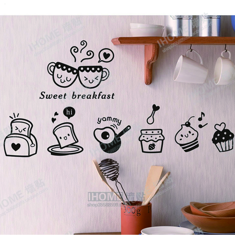 US $9.13 11% di SCONTO|Dolce Colazione! cucina wall sticker decal colazione  Frigo Adesivi Per Piastrelle A Parete per la Decorazione Della Cucina ...