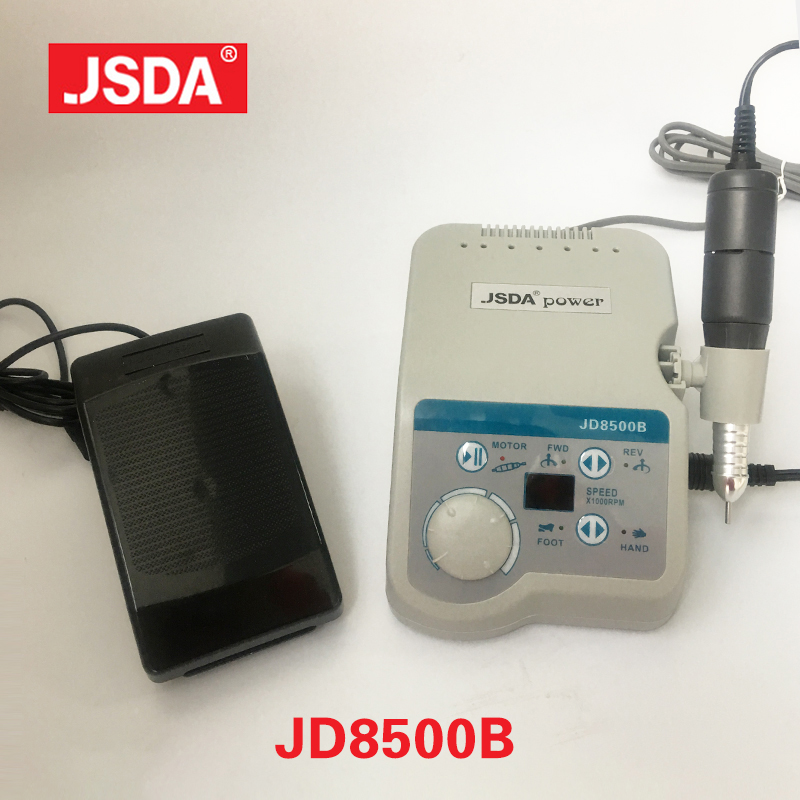 Real JSDA JD8500B 65W 35000rpm yrkesverksamma Elektriska nagelborrmaskiner Manikyrverktyg Pedicure Nails Art Equipment LCD Display