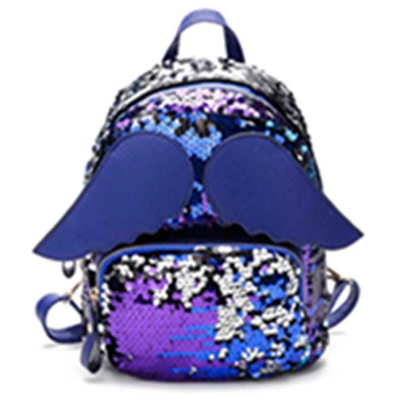 THINKTHENDO для женщин девочек Блестящие Блестки маленькие рюкзаки Мини Кожаный школьный рюкзак сумка с крыльями ангела Новая мода