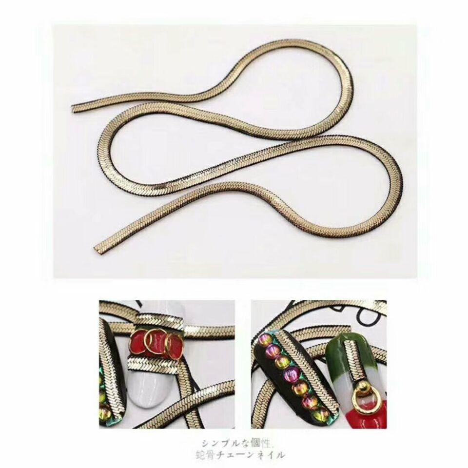 MüHsam Schlange Knochen/jakotsu Kette Nagel Studs Charming Schlange Knochen Metall Kette Nagel Charme Nagel Kunst Metall Gold Kette 2,5 Mm 50 Cm Nails Art & Werkzeuge