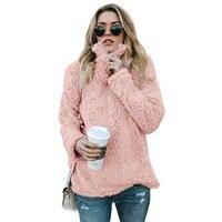 Women artificial fur Hoodies 2018 new Casual Women Long Sleeve Hooded Pullover Sweatshirts Female Street Wear Fall Winter Womens