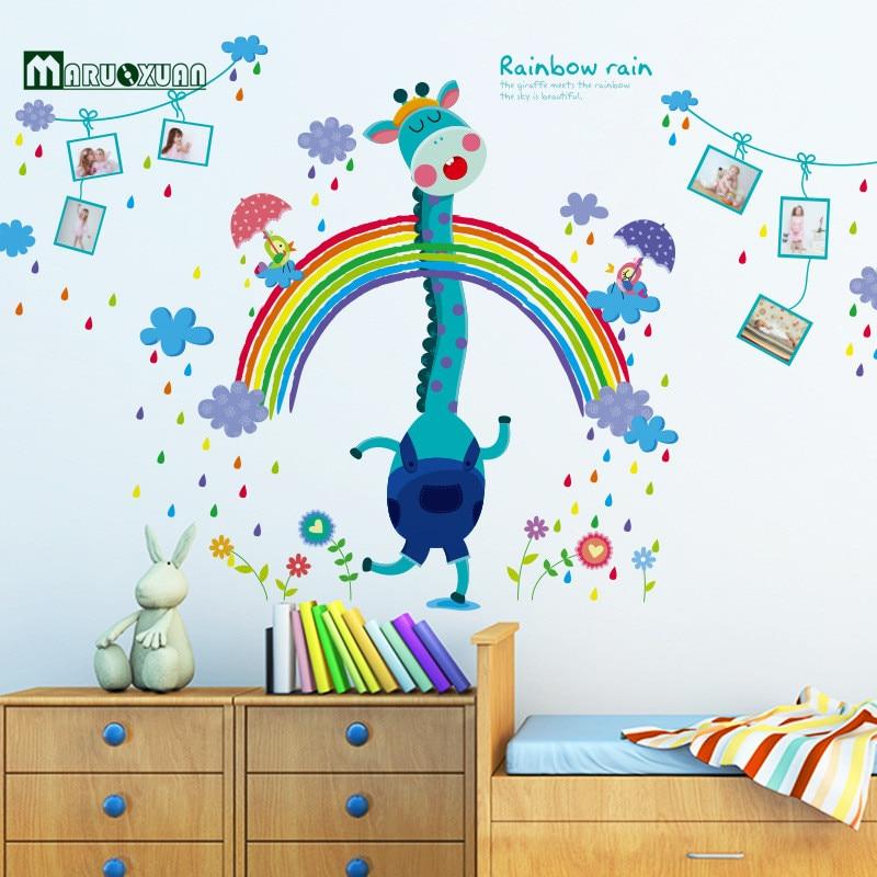 Maruoxuan Rainbow Deer Wall Stickers For Kids Room Home