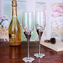 201-300ml creative lead-free crystal Champagne Cup goblet wine glass couple for high-end wedding gifts