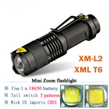 Mini Rechargeable Torch CREE XM-L2 XML T6 LED Flashlight18650 Battery waterproof camping tactical Flash light