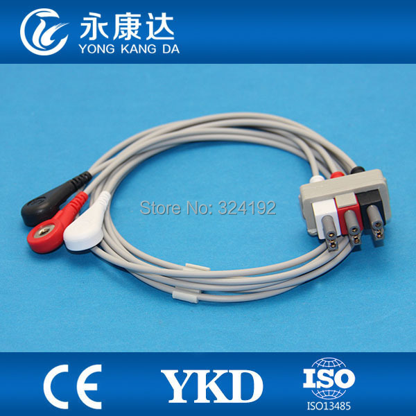 Free shipping compatible Multi-link AHA/3 leads ECG cable and Snap leadwires