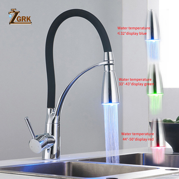 ZGRK 360 Degree Rotation  Kitchen Faucets with Rubber Design Chrome Mixer Faucet for LED Discoloration With Temperature