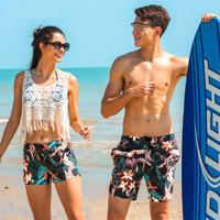 2018 New arrive couple swimsuits beach shorts surf sportswear gym clothing swimwear floral prints men beachwear boardshorts