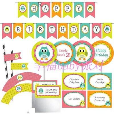 Kinderen Baby Douche Creatieve Uil Thema Verjaardag Bunting