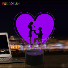 FULLOSUN 3D Illusion Table Lamp I Love You LED Night Light 7 Color Propose Valentines Day Friends Wedding Gift Decor