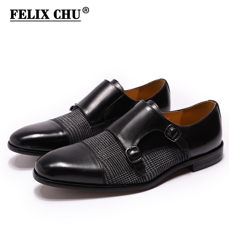 DANIEL WAFER Brand Designer Monk Strap Mens Dress Shoes Genuine Leather With Fabric Black Brown Wedding Party Dress Shoes MenDANIEL WAFER Brand Designer Monk Strap Mens Dress Shoes Genuine Leather With Fabric Black Brown Wedding Party Dress Shoes Men