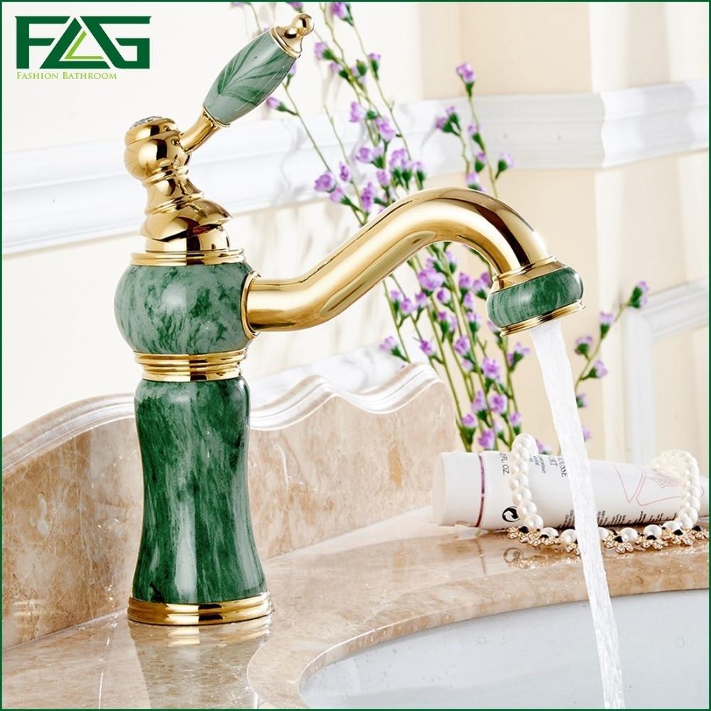 Unique Design Basin Faucet Deck Mounted Golden Classic Bathroom Faucet Jade  Painting Long Spout Bathroom Sink Part 31