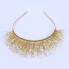 TUANMING Design Gold Crystal Glass Bead Bridal Wedding Flower Headband Wedding Tiara Hair Jewelry Hair Clip