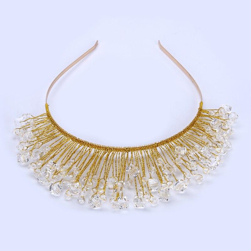 TUANMING Design Gold Crystal Glass Bead Bridal Wedding <font><b>Flower</b></font> Headband Wedding Tiara Hair Jewelry Hair Clip Comb Women Jewelry