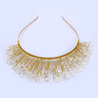 New Design Gold Crystal Glass Bead Bridal Wedding Flower Headband Wedding Tiara Hair Jewelry Hair Clip