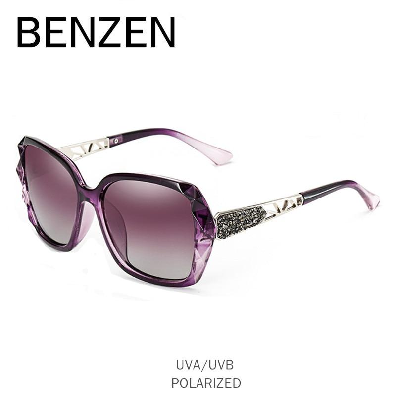 BENZEN Luxury Rhineston Sunglasses Women բրենդային դիզայներ Բևեռացված կին արևի ակնոցով տիկնայք ստվերներ `6232 գործով մեքենա վարելու համար