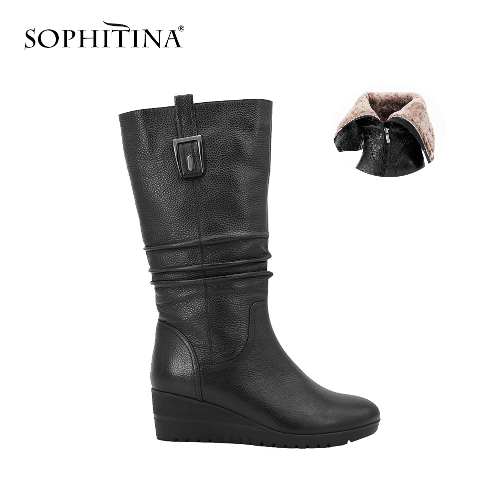 SOPHITINA Wool Fur Mid Calf Boots Black Genuine Leather Winter Woman Boots Round Toe Soft Wedges