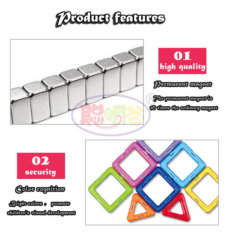 CongMingGu 21Pcs/38Pcs standard size magnetic building blocks Model Building Toys Brick designer Enlighten Bricks magnetic toys 6