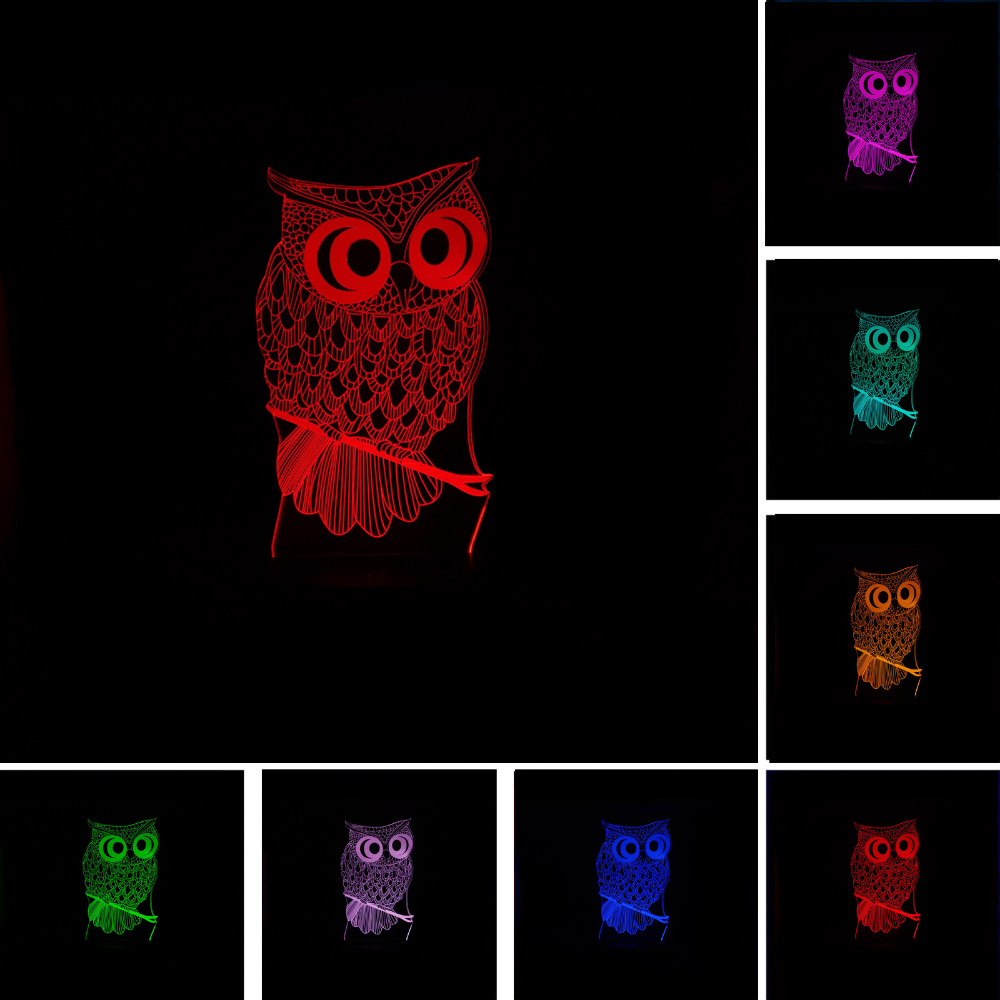 3D Owl LED Desk Table Lamp Night Light 7 Color Change Touch Art Home Child Bedroom Sleeping Decor Fashion Holiday Party Gifts table decor color change best gift led night light