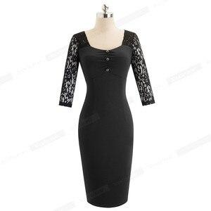 Image 5 - 素敵な永遠のヴィンテージエレガントなレースのパッチワークレトロ襟 Vestidos ビジネスパーティーボディ仕事オフィス女性ドレス B486