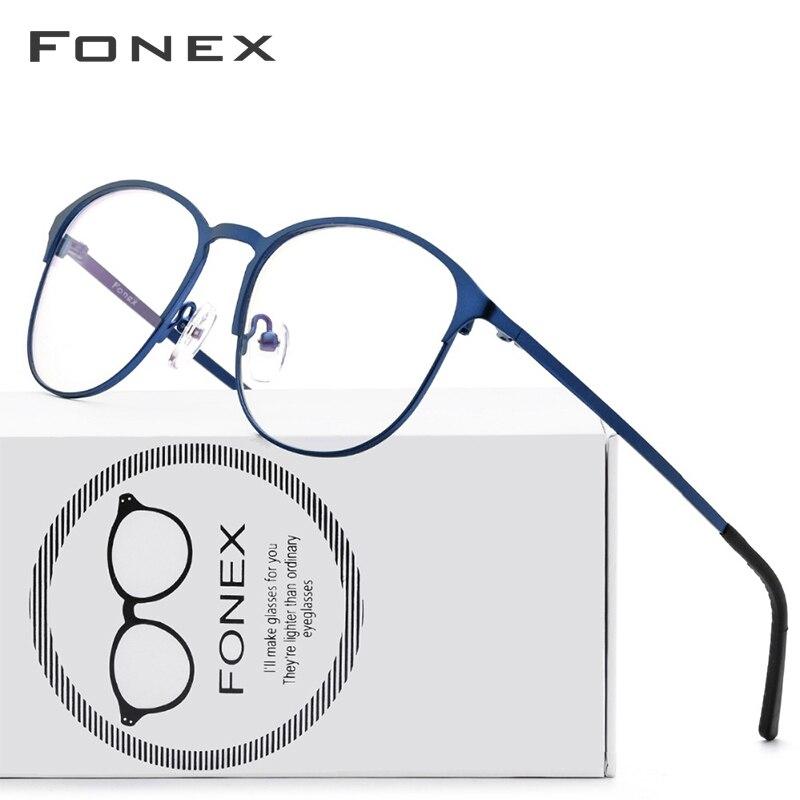 FONEX titane alliage lunettes cadre hommes marque Designer Vintage rond Prescription lunettes pleine armature de lunettes 10012