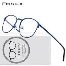 Fonex 티타늄 합금 프레임 브랜드 디자인 빈티지 라운드 처방안경 근시 광학 안경 남녀공용 10012