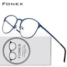Fonex armação masculina, armação para óculos de grau masculina, com prescrição, completa, óculos 10012