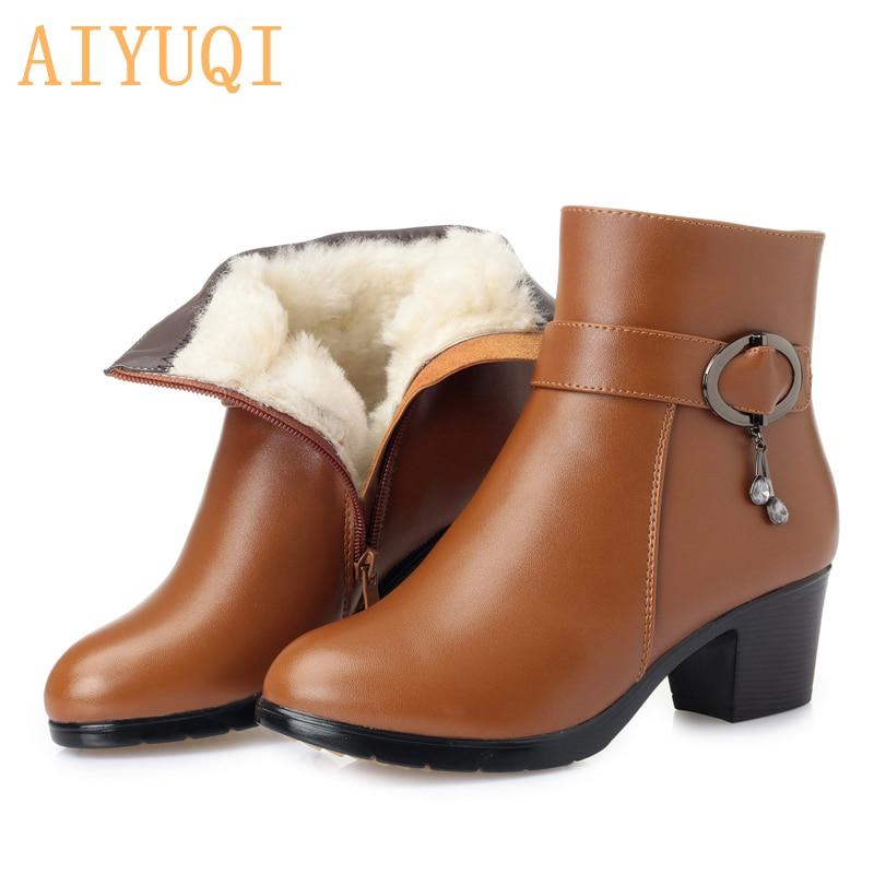0eb1bd1b AIYUQI 2019 nuevas botas cortas de invierno de cuero genuino para mujer,  botas martin de talla grande, botas de nieve para mujer con forro de lana  de ...