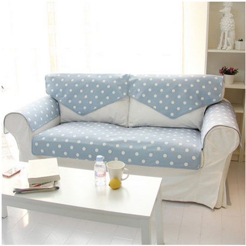 Korean Pastroal Reversible Blue White Dot Cloth Sofa Cover Towel Sectional Couch Covers 1 Piece Lot In From Home Garden On