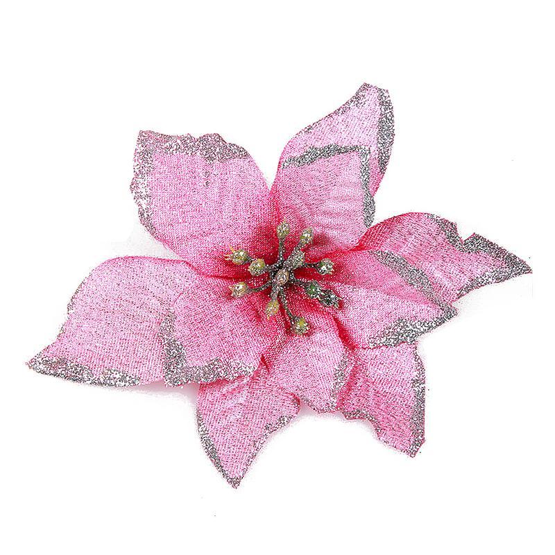 1 шт. 15 см Золотой Край имитация на Рождество цветок для свадебной вечеринки гирлянды украшения многоцветный пластик липкий порошок цветок - Цвет: Розовый