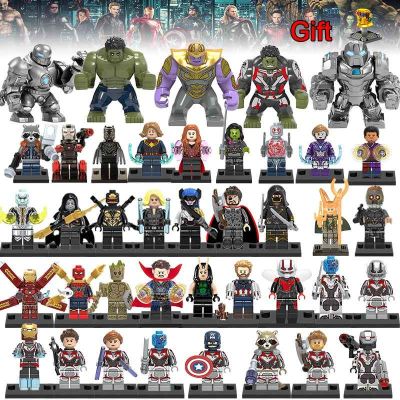 40Pcs/lot Super Heroes Building Blocks lEGOED Marvel Avengers 4 Minifigured Machine figures Iron Man Thanos Endgame Toys