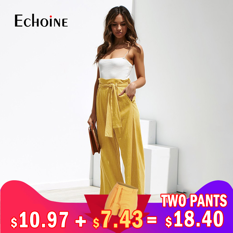 Casual Cotton Linen women high waist   wide     leg     pants   summer New office band loose palazzo trousers women flared black harem   pants