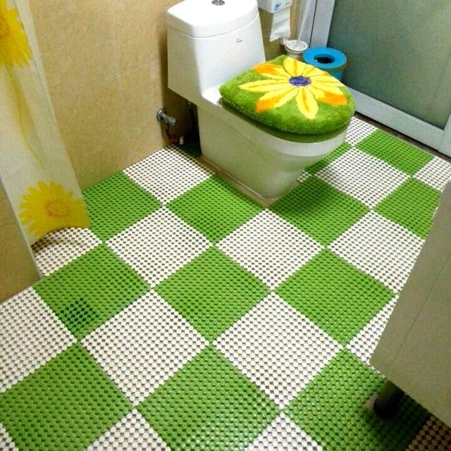 DIY Stitching Bathroom Carpets Rugs 3D PVC Shower Mat Waterproof ...