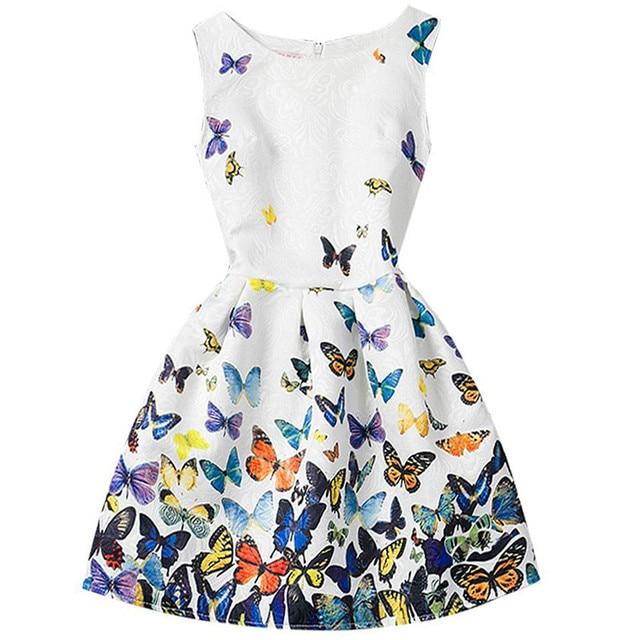 Casual nuevo ropa de niñas carácter cinturón impresión vestidos para niñas  de verano sin mangas de dc2a55f61d9
