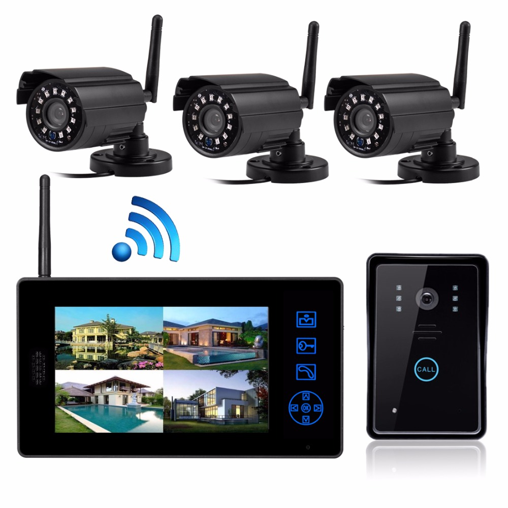 New home secuity CCTV camera system smallest wireless camera night vision waterproof door bell door camera with 7 inch monitor new restaurant equipment wireless buzzer calling system 25pcs table bell with 4 waiter pager receiver