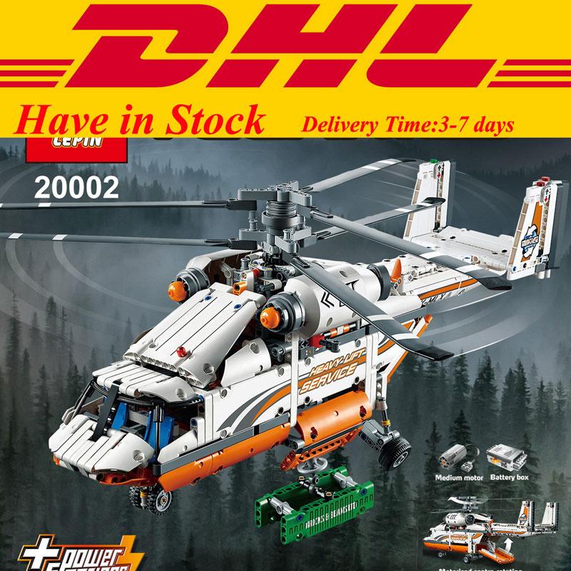 In Stock1060 PCS DHL LEPIN 20002 Technic Heavy Lift Helicopter Building Blocks Set Minifigures Bricks Christmas