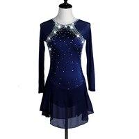 Фигурное катание платье Для женщин девушки Катание на коньках платье Королевский синий спандекс горный хрусталь Эластичный производитель