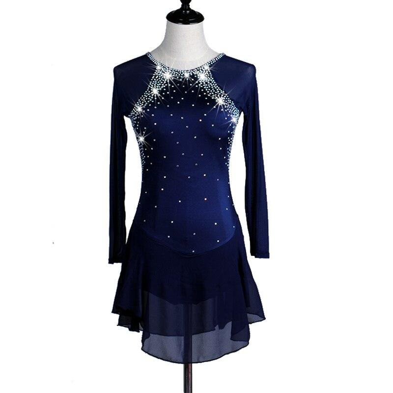Robe de patinage artistique femme fille patinage sur glace robe bleu Royal Spandex strass extensible Performance patinage porter à la main